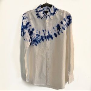 Ralph Lauren White Blue Tie Die Button Up